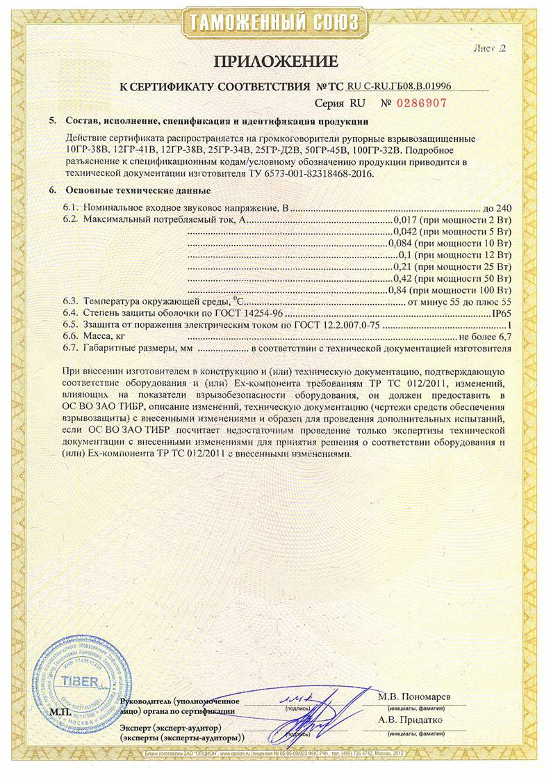 Приложения к сертификату взрывозащиты. Лист 2.